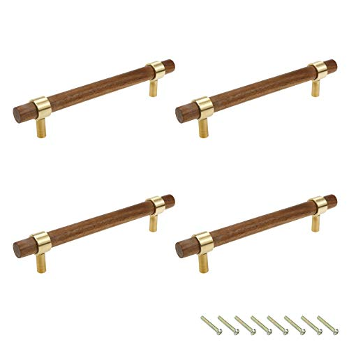 Cabinet Drawer Pulls Karcy Pull Handle Replacement 5.04-Inch Mounting Hole Distance with Screws Walnut Brass Gold Brown Handle Pulls for Cabinets with Screws Set of 4