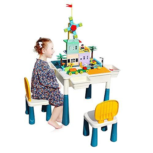 MonBébé Activity Table with 144pcs Building Blocks Multipurpose Study Table for Kids Plastic Table with 2 Chairs and 4 Boxes for Storage (144pcs)