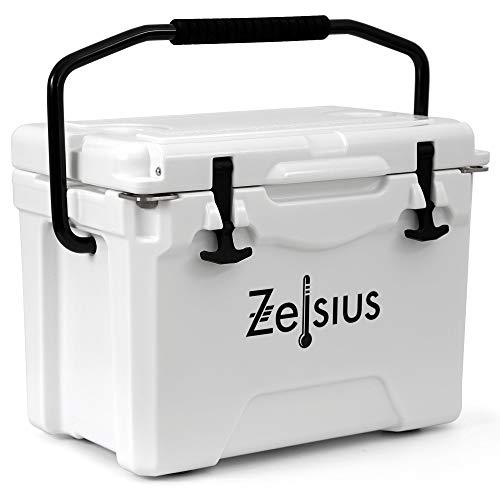 Zelsius Kühlbox 25 Liter | Coolbox | Tragbare Cooling Box ideal für Auto Camping Urlaub Angeln Freizeit Outdoor | Thermobox für Warm und Kalt (Weiss)