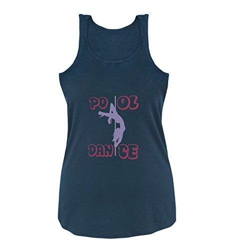 Comedy Shirts - Pool Dance - Damen Tank Top - Navy/Violett-Fuchsia Gr. M
