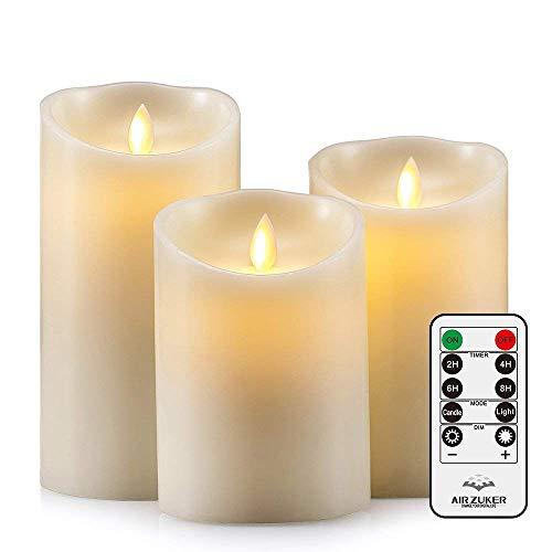 Air Zuker LED Kerzen Flammenlose 500 Stunden Kerzen Echtwachskerzen mit realistisch flackernde LED Flame mit D-Cell Batterie (Nicht enthalten), 3er Set.