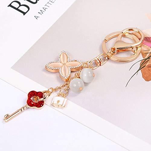 LIUL Keychain Crystal Flower Pendant Key Ring Fashion Beautiful Key Chain Women's Bag Car Pendant Jewelry