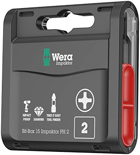 Wera 05057752001 Inserti per Viti a Croce Phillips-Recess, 0 W, 0 V, PH 2, Set di 15 Pezzi