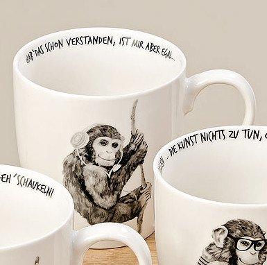 Bloominghome Jumbotasse AFFE 400ml Porzellan Hab das Schon verstanden Kaffeebecher H10 cm