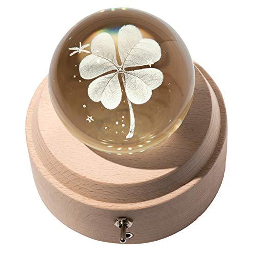 Caja de música con trébol de cuatro hojas 3D, proyección, luz LED, caja musical giratoria luminosa con base de madera, el mejor regalo para caja de cumpleaños (color natural, tamaño: E)