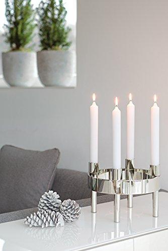 Fink - Rodin - Adventskranz, Kerzenleuchter - 4-flammig - Metall vernickelt - Höhe: 19 cm - Ø 27 cm