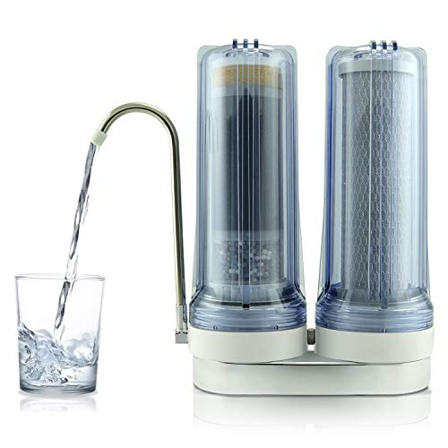 APEX EXPRT MR-2050 Quality Dual Countertop Drinking Water Filter - 5 Carbon Block and 5 Stage Mineral Cartridge - Best Alkaline Filtration System - for Healthier Safer Purified Water (Clear)