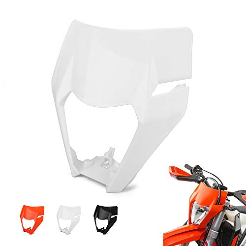 JFG RACING Motorfiets Koplamp Masker Koplamp Cover Lampenkap Voor KTM 125 150 150 250 300 350 450 500 EXC XCW EXC-F 2017 2018 Dirt Bike Enduro Motocross Supermotor Kleur: wit