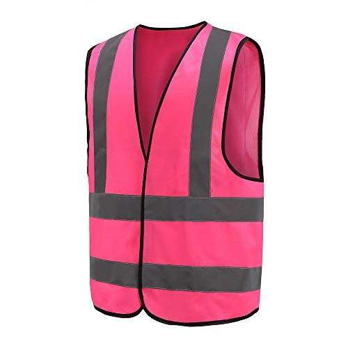 Auto Warnweste, Sicherheitsweste, Pannenweste für Auto, Fahrrad, Waschbar, arbeschutzkleidung (3XL, Pink)