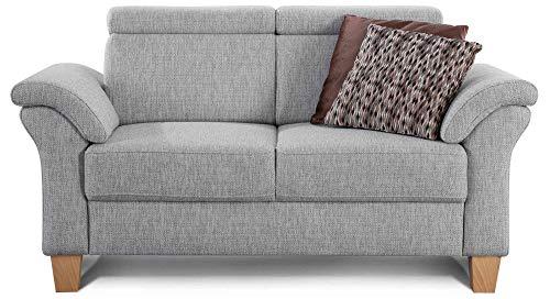 Cavadore 2-Sitzer Sofa Ammerland / Couch mit Federkern im Landhausstil / Inkl. verstellbaren Kopfstützen / 156 x 84 x 93 / Strukturstoff hellgrau