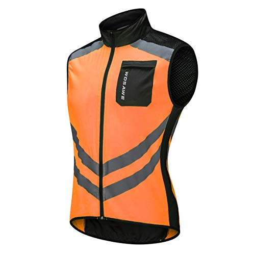 SeniorMar BL208-O Ciclismo Running Ultra Ligero Reflectante Impermeable Chaleco Rompevientos Bicicleta de montaña Reflectante Rompevientos
