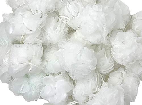 Loofah Lord 24 White Bath or Shower Sponge Loofahs Pouf Mesh Wholesale Bulk Lot