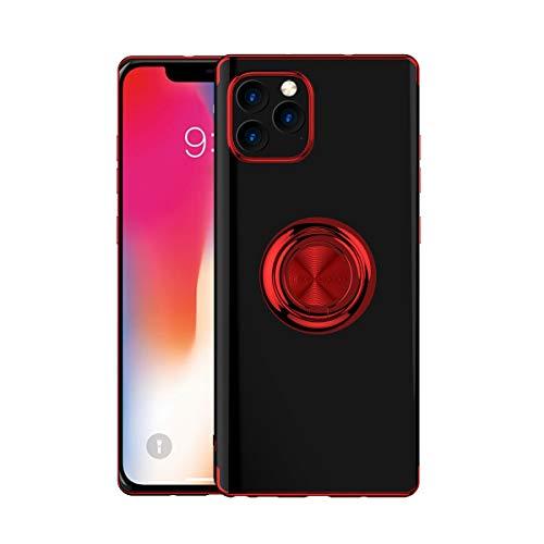 Luckly Fina Protectora Funda Protectora para iPhone 12/ iPhone 11, con Anillo Giratorio de 360 Grados iPhone Protectora Cover, con Soporte Magnético para Coche,Rojo,iPhone11