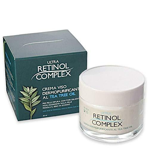 RETINOL COMPLEX- Crema facial Dermopurificante con aceite de tè verde, Argan, Cannabis, Crema Antibacterial, Antimicotico, Cicatrizante - 50ml