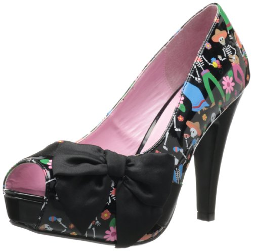 Pinup Couture - zapatos de tacón mujer, Blk Pat-Blk Satin (Muertos Print), 7 UK / 40 EU / 10 US