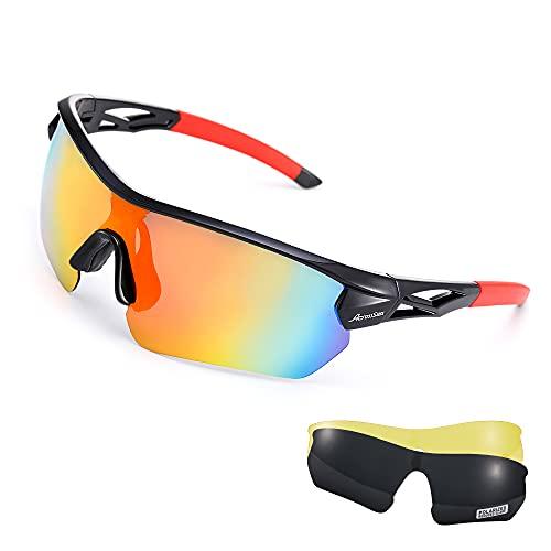 AcrossSea Polarisierte Fahrrad Brille, Sport-Sonnenbrille für Männer Frauen mit 3 Austauschbaren Gläsern für Laufen, Baseball, Golf, Fahren, Angeln, Radbrillen mit TR90 Rahmen