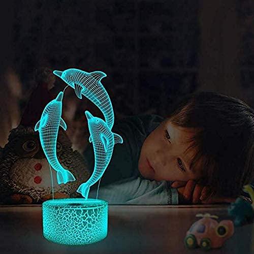 DCLINA 3D Dolphin Night Light 7 Colores Lámpara Humor Touch USB Mesa Escritorio LED Decoración Niños Presente Niños Fiesta en casa Regalo cumpleaños Juguete