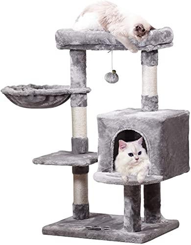 Katzenkratzbaum,Kratzbaum Klein 93 cm hoch, Kletterbaum mit Aussichtsplattform, Katzen Hängematte, Zimmer, Geeignet für Größe, Kleine Katzen
