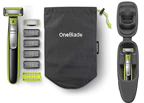 Philips OneBlade Face & Body QP2630/30 inkl. 2 Klingen, 4 Trimmaufsätze & 2 Körperaufsätzen mit luxuriösem Etui QP100/51