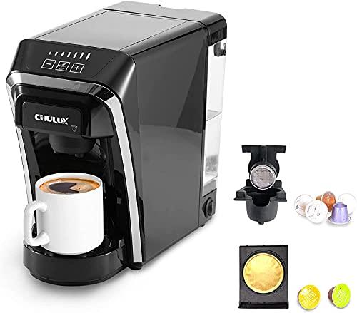 CHULUX Cafetera de cápsulas, cafetera monodosis multifuncional para cápsulas Nespresso y Dolce Gusto, depósito 800 ml, 7 tamaños de preparación, adecuada para la oficina y el hogar