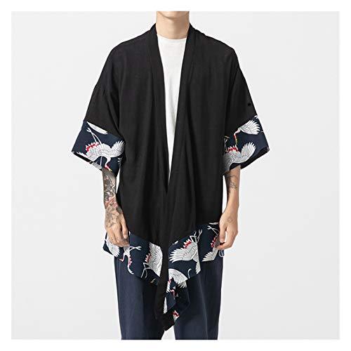 VIAIA Bordado de Gran tamao Crane Macho Japanese Kimono Robe Cardigan Algodn Lino Hanfu Ropa Yukata Haori Causal Samurai Outwear Outwear (Color : Negro, Size : 3XL)