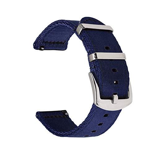 ZXF Correa de Reloj, 18 mm 20 mm 22 mm 24 mm liberación rápida Correa de Nylon Doble Gruesa Correa de Lona de Nylon Reloj de Reloj (Color : Blue, Size : 22mm)