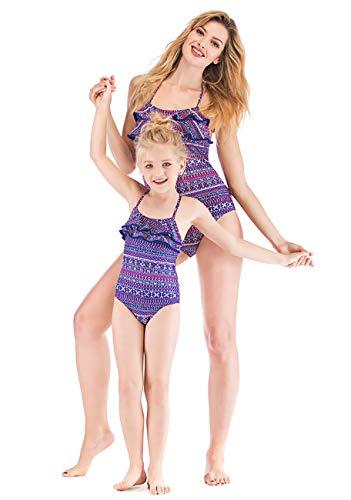 Yuyudou Womens Bikinis Sets Familie Bijpassende Badpak voor Baby Meisje Badmode Bloemen Een Stuk Badpak voor Peuters Familie Outfits