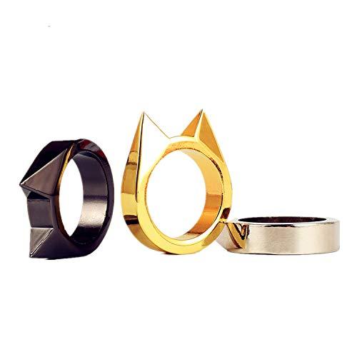 JinYu 3 Stück Damen Ringe Fingerringe Katze Ohrschmuck Tier Schwarz Silber Gold Farben