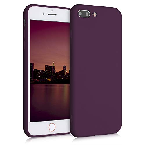 kwmobile Funda Compatible con Apple iPhone 7 Plus / 8 Plus - Carcasa de Silicona TPU para móvil - Cover Trasero en Violeta Burdeos