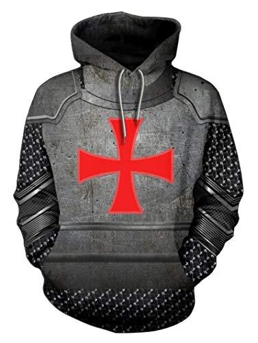 BoerMee Mens Knights Templar Sweatshirt Medieval Armor Crusader Cross Cosplay Hoodie (XXL, Grey)