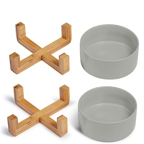 Supremery 2X Cat Feeding Bowl with Bamboo Holder - Feeding Station 2x Ceramic Bowl for Cats Dogs - Ceramic Feeding Bowl Set with Wooden Holder