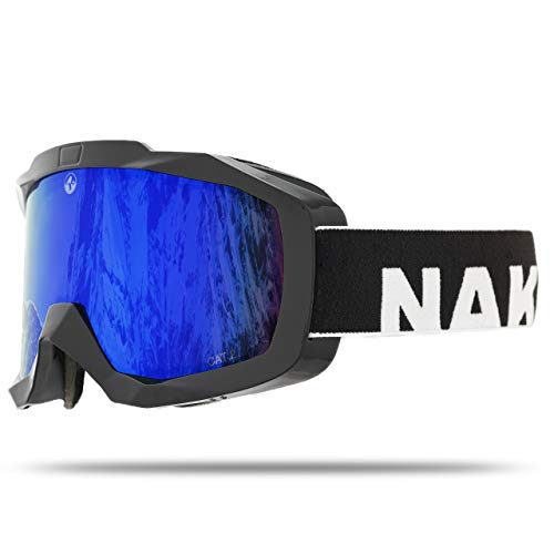 NAKED Optics® ski goggles - Snowboard goggles for men and women - Mirrored, Anti Fog and OTG capable - Ski Goggles for Men and Women (EDGE)