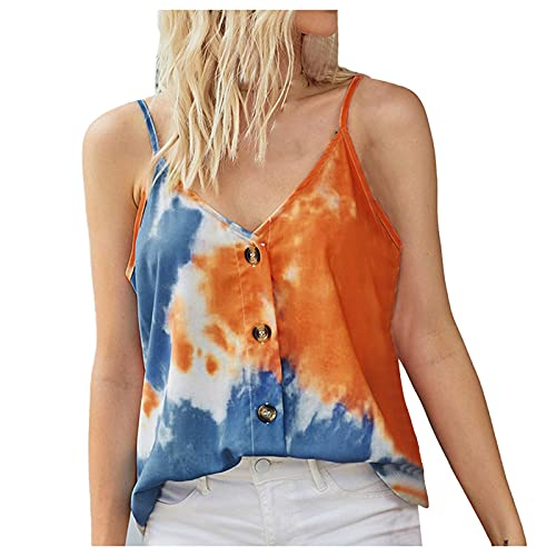 TYTUOO Women's Tank Tops Loose Casual V Neck Sleeveless Sexy Button Down Cami Blouses Solid Tie-Dye Fashion Skin-Friendly Backless(B-Orange,S)