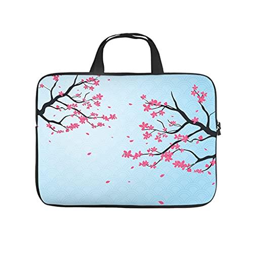 Funda protectora para portátil con diseño de flores de cerezo japonés, resistente al desgaste, para trabajo, negocios, regalo personalizado, Blanco, 10 pulgadas,