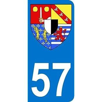 2 stickers pour plaque d/'immatriculation 57 blason de la Moselle