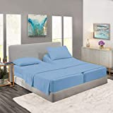 Royal Collection 1900 Egyptian Cotton Bamboo Quality Bed Sheet Set with 2 XL Fitted, 1 Flat and 2 King Pillow Cases.Wrinkle Free Shrinkage Free Fabric, Deep Pockets (Split King, Aqua/Light Blue)
