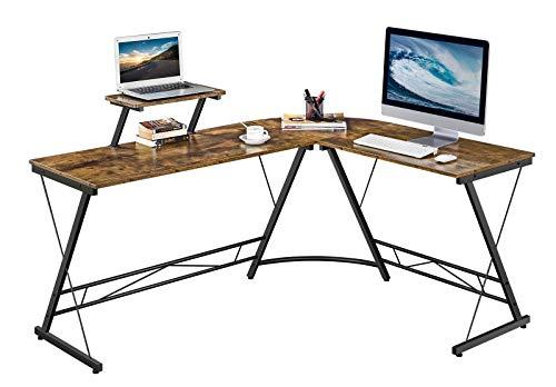 Yaheetech L-förmiger Schreibtisch, Gaming-Computer-Eckschreibtisch, Holzschreibtisch, Arbeitsplatz für Home Office, 162,5 x 130 x 96,5 cm, rustikales Braun