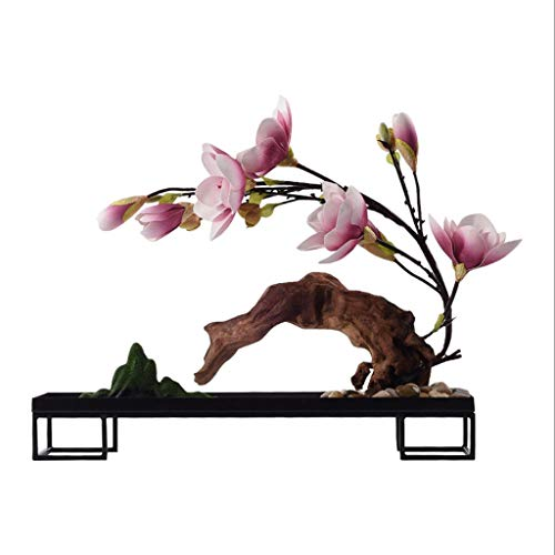 NYKK Artificial Flowers Chinese-style Living Room Hotel Villa Solid Wood Simulation Floral Bonsai, Artificial Magnolia Potted Plant, Artificial Potted Artificial Plant Home Accessories Fake Flowers