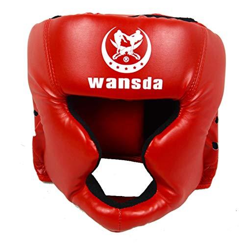 Leder Head Guard Box Helm Geschlossene Boxen Sparring Helm Muay Thai Free Fight Taekwondo Protector Boxhelm Für Kampfsportarten, MMA Boxen Kickboxen Sparring Erwachsene/Kinder