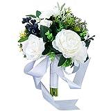 Bouquets de mariée Plantes Fleurs artificielles en soie plastique Rose fleur Arrangements Bouquets de mariage Décoration florale de table for la maison Centerpieces Cuisine Jardin Accessoires de marié
