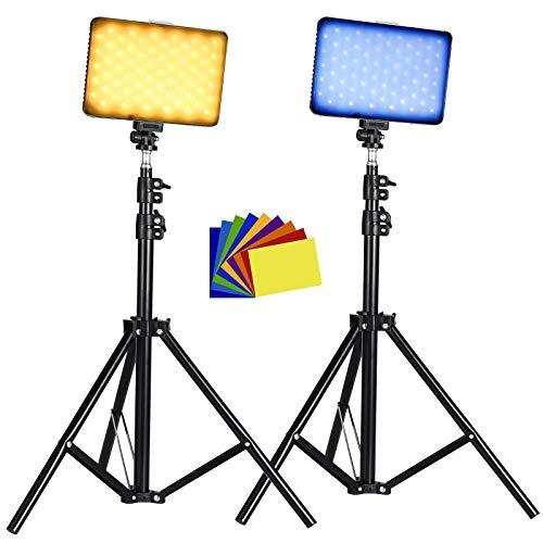 Luce video a LED USB dimmerabile con supporto per treppiede regolabile, filtro colorato, illuminazione a LED colorata, ritratto del prodotto Fotografia video di YouTube (Confezione da 2)