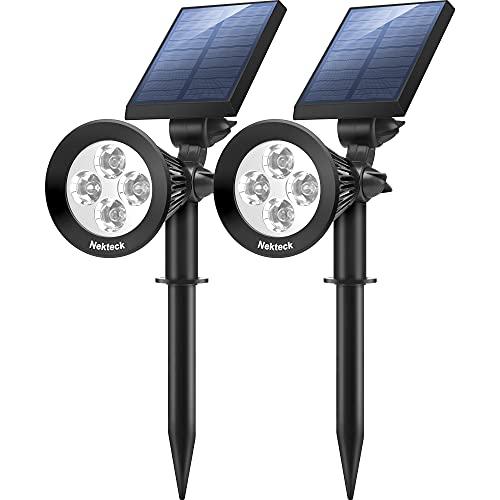 Nekteck Solar Lights, 2-in-1 Solar Spot Lights Outdoor, Waterproof Solar Powered Landscape Spotlights, Bright and Dark Sensing, Auto On/Off for Yard, Pathway, Garden, Driveway (2 Pack, White)