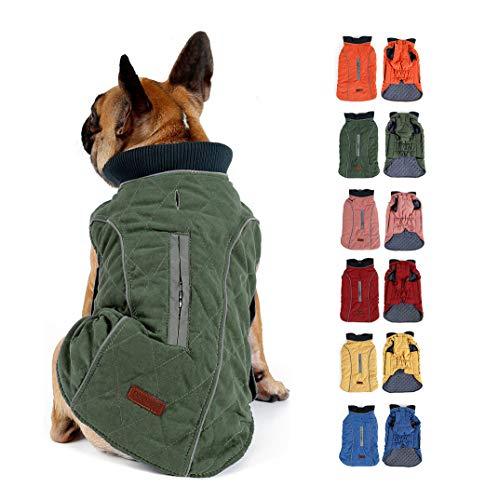 Komate Abrigo de Invierno para Perros Chaleco cálido con Vestido de Rayas Reflectantes para Perros pequeños medianos Grandes (XXL (Cofre: 66-80cm), Verde)