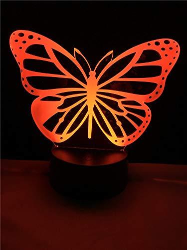 Mooie vlinder nachtlampje voor kinderen 3D illusie lamp 7 kleuren veranderen met afstandsbediening sfeerlicht, vakantie en verjaardagscadeau voor jongens en meisjes