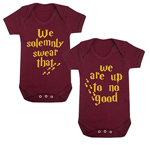 We-Solemnly-Swear-That-We-are-Up-to-No-Good-Novelty-Baby-Vest-Wizard-Inspired-Babygrow-Novelty-Baby-Gifts-Spell-Twin-Gifts-Set-of-Two
