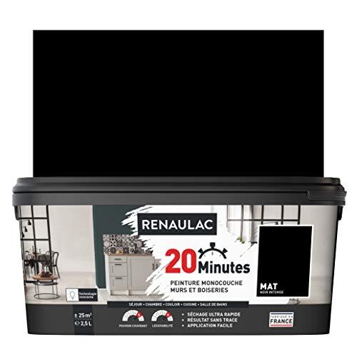 RENAULAC Peinture intérieur couleur monocouche 20 Minutes murs et boiseries - Noir intense Mat - 2,5L - 25m²