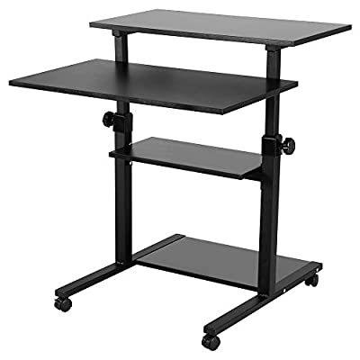 Computer Cart Desk, Mobile Height Adjustable Stand up Desk with Storage - Standing Mobile Computer Work Station Laptop Desk Adjustable Height Rolling Presentation Cart