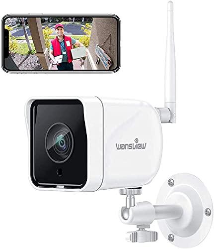 Caméra de Surveillance WiFi Extérieure, Wansview Caméra IP 1080P WiFi Caméra Étanche IP66 avec Détection de Mouvement, Audio Bidirectionnel, ONVIF/RTSP, Fonctionne avec Alexa - W6 Blanche