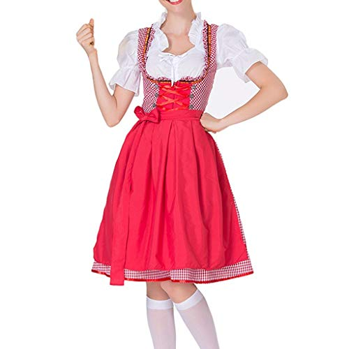 WUSIKY Dirndl Damen Dirndlbluse Oktoberfest Trachtenbluse Bierfestkleid Bayerisches Bierfest Cosplay KostüMe (Rot, L)
