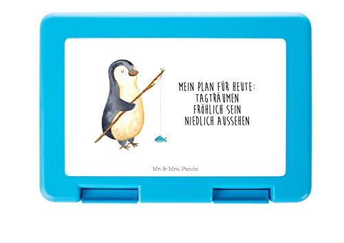 Mr. & Mrs. Panda Dose, Vesperdose, Brotdose Pinguin Angeler mit Spruch - Farbe Weiß